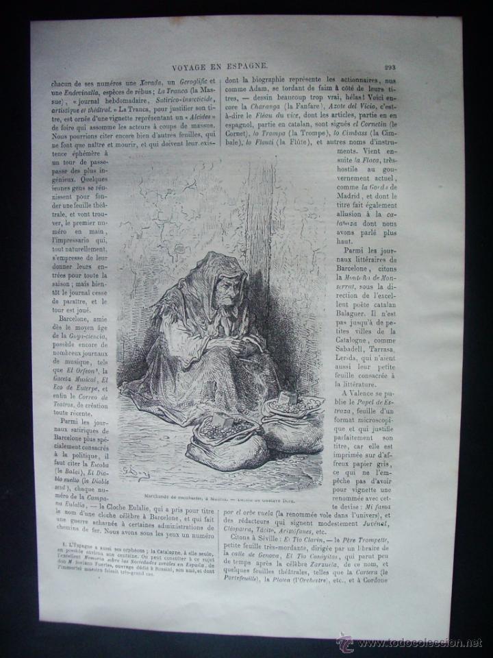 1862-VENDEDORA DE CACAHUETES DE MADRID GRABADO ORIGINAL DE GUSTAVO DORÉ (Arte - Grabados - Modernos siglo XIX)