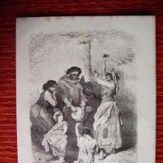 Arte: 1862-BAILE DE NIÑAS GITANAS Y ABUELA SACROMONTE GRANADA GRABADO ORIGINAL DE GUSTAVO DORÉ. Lote 50274768