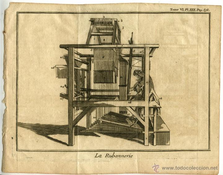 GRABADO DE TELAR DE CINTAS FRANCÉS AÑO 1731 ESPECTÁCULO DE LA NATURALEZA RIBBON XVIII LA RUBANNERIE (Arte - Grabados - Antiguos hasta el siglo XVIII)