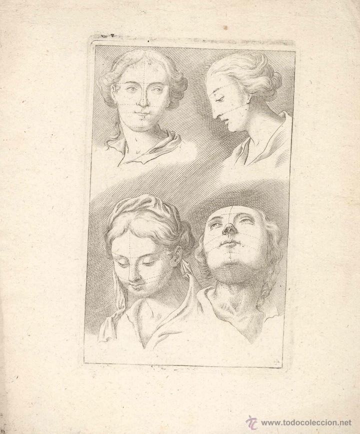 ESTAMPA DEL SIGLO XVII ROSTRO FEMENINO CUARTILLA DE APRENDIZAJE GRABADO (Arte - Grabados - Antiguos hasta el siglo XVIII)
