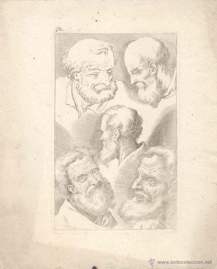 ESTAMPA DEL SIGLO XVII ROSTRO ANCIANO CUARTILLA DE APRENDIZAJE GRABADO (Arte - Grabados - Antiguos hasta el siglo XVIII)