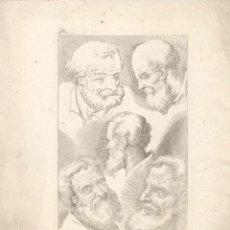 Arte: ESTAMPA DEL SIGLO XVII ROSTRO ANCIANO CUARTILLA DE APRENDIZAJE GRABADO. Lote 50308635