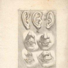 Arte: ESTAMPA DEL SIGLO XVII DETALLES DE OREJAS Y BOCA CUARTILLA DE APRENDIZAJE GRABADO. Lote 50308670