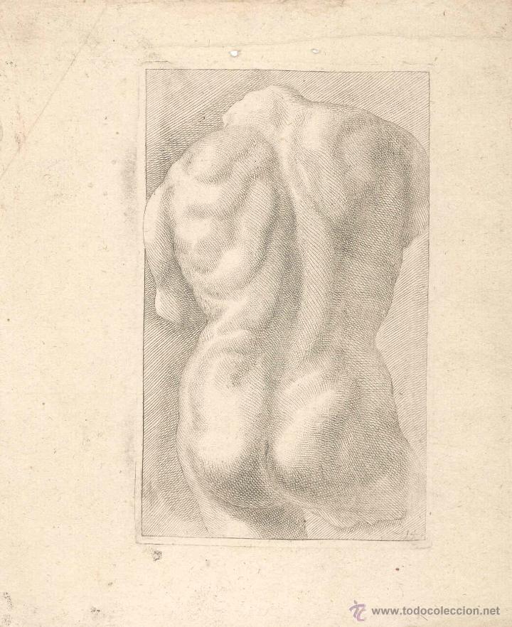 ESTAMPA DEL SIGLO XVII TORSO MASCULINO CUARTILLA DE APRENDIZAJE GRABADO (Arte - Grabados - Antiguos hasta el siglo XVIII)