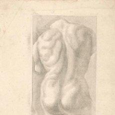 Arte: ESTAMPA DEL SIGLO XVII TORSO MASCULINO CUARTILLA DE APRENDIZAJE GRABADO. Lote 50308694
