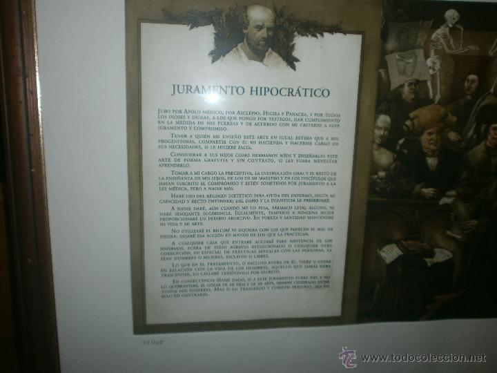 Arte: Vicente Arnas - Juramento Hipocratico - obra grafica firmada y numerada enmarcado medida 77 x 63 cm - Foto 2 - 50344151