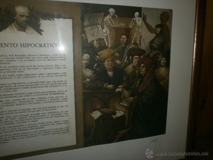 Arte: Vicente Arnas - Juramento Hipocratico - obra grafica firmada y numerada enmarcado medida 77 x 63 cm - Foto 3 - 50344151