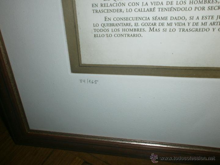 Arte: Vicente Arnas - Juramento Hipocratico - obra grafica firmada y numerada enmarcado medida 77 x 63 cm - Foto 5 - 50344151