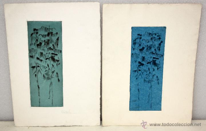 PAREJA DE GRABADOS DE AUTOR ILEGIBLE (Arte - Grabados - Contemporáneos siglo XX)