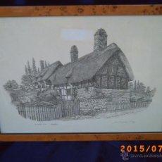 Arte: GRABADO CASA DE ANNE HATHAWAY'S COTTAGE ESPOSA DE W. SHAKESPEARE - FIRMADO A LAPIZ POR ANTHONY JOHN. Lote 50451173
