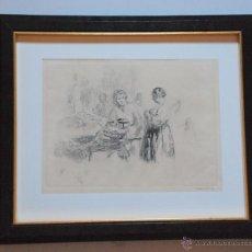 Arte: AGUAFUERTE MUJERES EN MERCADO PARIS FIRMADO HENRY LE RICHE (1868 - 1944) FRANCIA. Lote 50518888