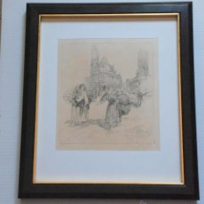 Arte: AGUAFUERTE MUJERES FRENTE ABBAYE SAINTE GENEVIEVE - HENRI LE RICHE (1868 - 1944) FRANCIA. Lote 50519346