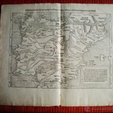 Arte: 1580-MAPA ESPAÑA TORTOSA VICH MURCIA NAGERA BURGOS DENIA CARTAGENA TORO COSMOGRAFIA MUNSTER.ORIGINAL. Lote 50567471