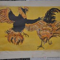 Arte: FRANCOIS MARECHAL LITOGRAFIA ORIGINAL , CON TEMA DE GALLOS DEL AÑO 1971 . Lote 50649614