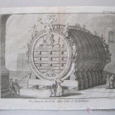 Arte: VISTA DEL GRAN BARRIL DE VINO DE HEILDEBERG (ALEMANIA), SALMON, 1740. Lote 50665042