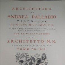 Arte: ARCHITETTURA DI ANDREA PALLADIO: PLIEGO DEL TOMO PRIMO. Lote 50695036