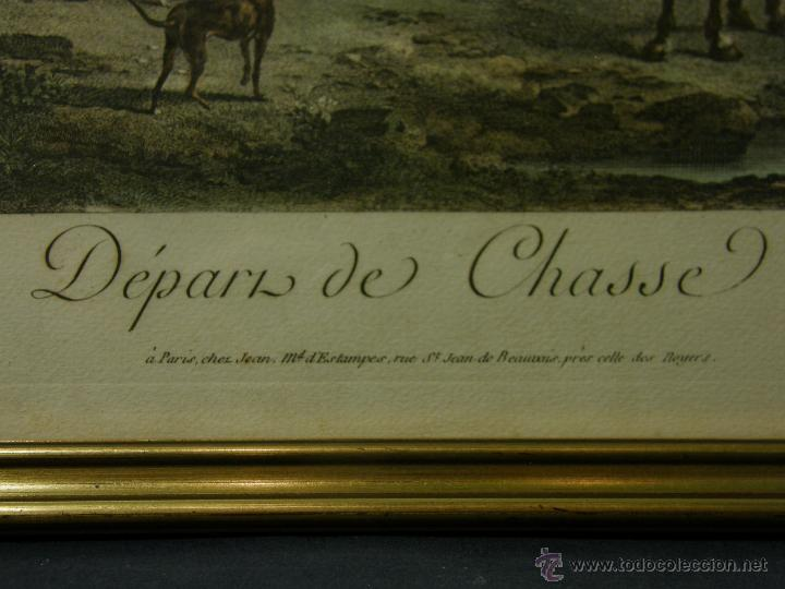 Arte: grabado coloreado plancha s XX primera mitad paisaje caza départ chasse van Falens Le bas 56x76cms - Foto 2 - 51159557