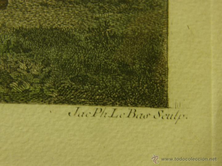 Arte: grabado coloreado plancha s XX primera mitad paisaje caza départ chasse van Falens Le bas 56x76cms - Foto 5 - 51159557