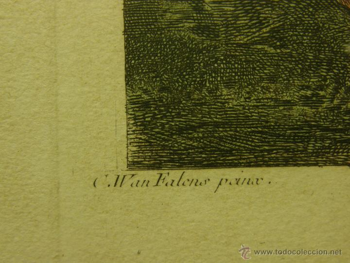 Arte: grabado coloreado plancha s XX primera mitad paisaje caza départ chasse van Falens Le bas 56x76cms - Foto 6 - 51159557