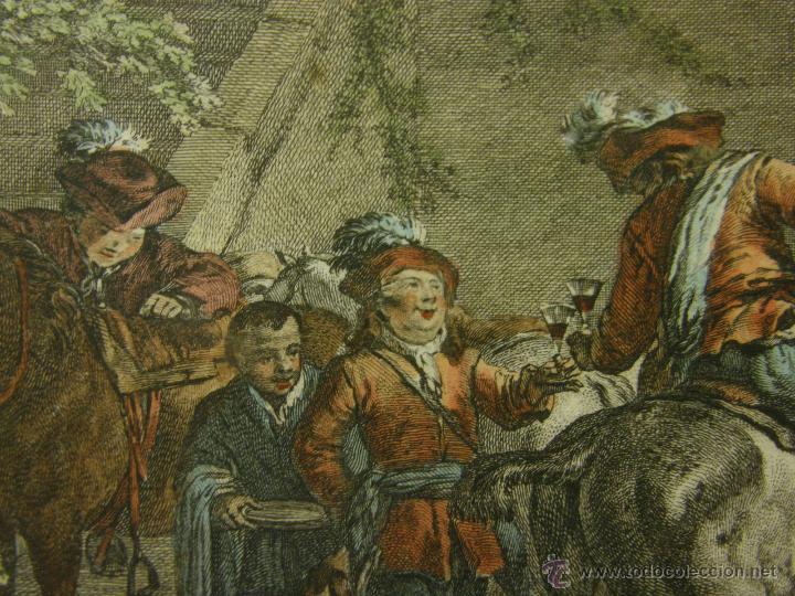 Arte: grabado coloreado plancha s XX primera mitad paisaje caza départ chasse van Falens Le bas 56x76cms - Foto 7 - 51159557