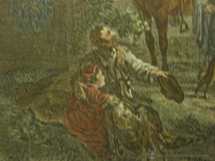 Arte: grabado coloreado plancha s XX primera mitad paisaje caza départ chasse van Falens Le bas 56x76cms - Foto 8 - 51159557