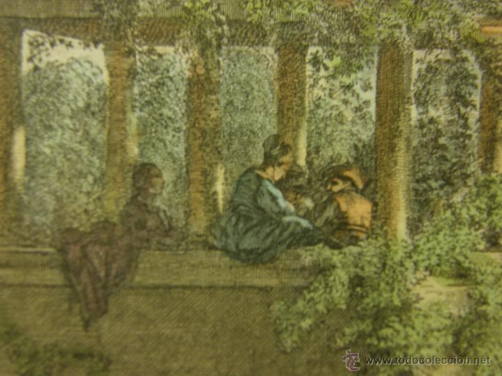 Arte: grabado coloreado plancha s XX primera mitad paisaje caza départ chasse van Falens Le bas 56x76cms - Foto 9 - 51159557
