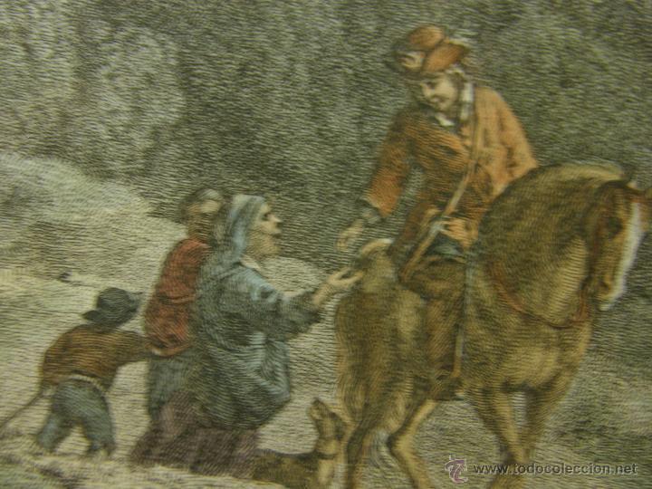 Arte: grabado coloreado plancha s XX primera mitad paisaje caza départ chasse van Falens Le bas 56x76cms - Foto 12 - 51159557