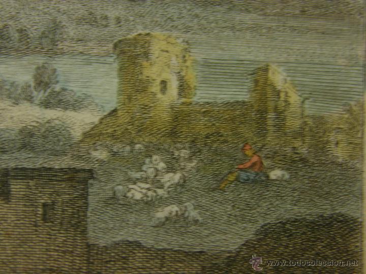 Arte: grabado coloreado plancha s XX primera mitad paisaje caza départ chasse van Falens Le bas 56x76cms - Foto 13 - 51159557