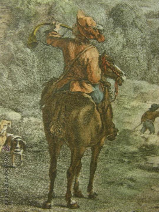 Arte: grabado coloreado plancha s XX primera mitad paisaje caza départ chasse van Falens Le bas 56x76cms - Foto 22 - 51159557