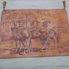 Arte: PIROGRABADO SOBRE CUERO NATURAL-50X35 CM-MUY BUEN ESTADO-ARTESANÍA-FIRMADO. Lote 51366285