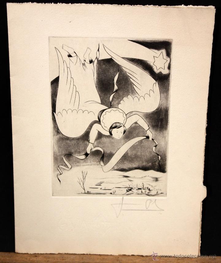 JAUME PLA PALLEJA (RUBÍ, 1914 - BCN, 1995) GRABADO CON FELICITACION FIRMADO A LAPIZ POR EL ARTISTA (Arte - Grabados - Contemporáneos siglo XX)