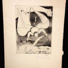 Arte: JAUME PLA PALLEJA (RUBÍ, 1914 - BCN, 1995) GRABADO CON FELICITACION FIRMADO A LAPIZ POR EL ARTISTA. Lote 51374927