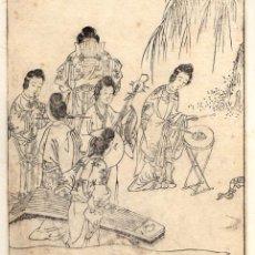 Arte: GRABADO ORIGINAL JAPONES. COURTLADIES PLAYING MUSICAL INSTRUMENTS. CIRCA 1760. Lote 51425993
