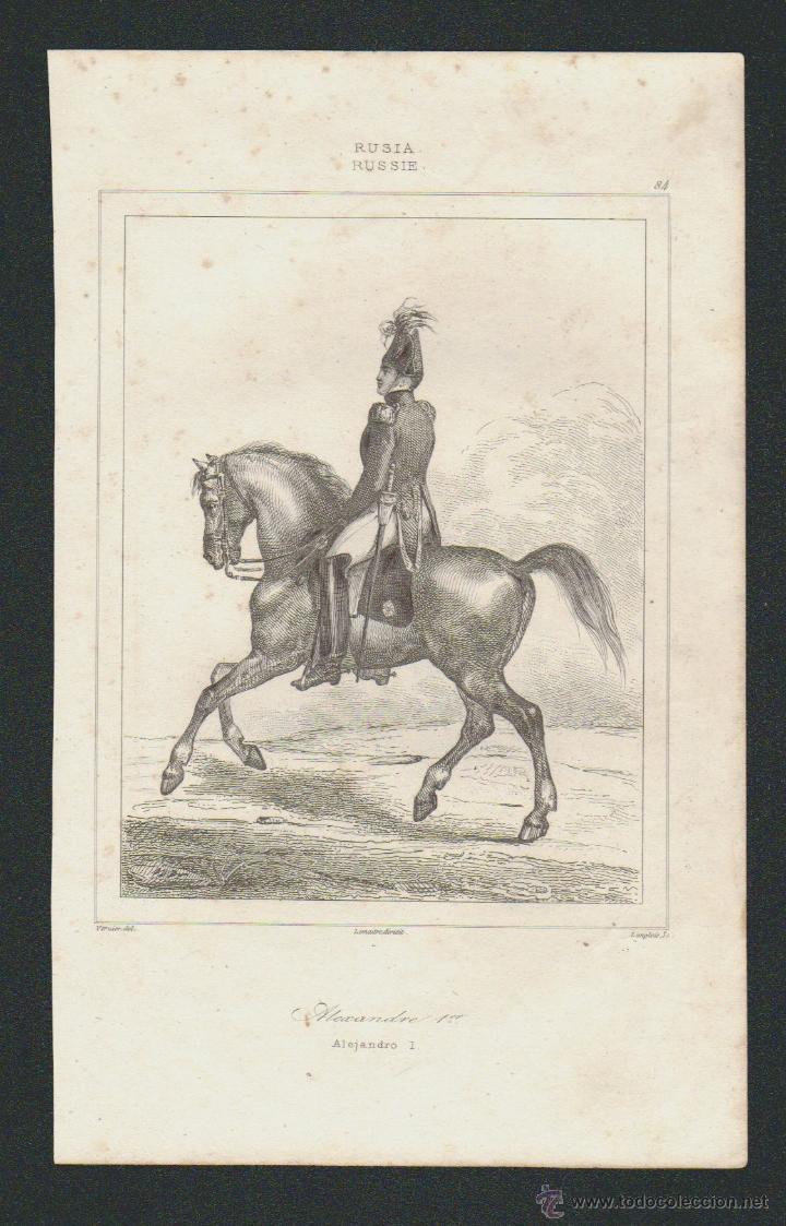 ALEJANDRO I.RUSIA.VERNIER,DEL.-LEMAITRE DIREXIT-LANGLOIS,SC.GRABADO SIGLO XIX. (Arte - Grabados - Modernos siglo XIX)