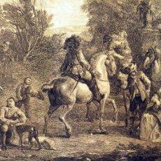 Arte: GRABADO, ALTE DE CHASSEURS, VAN FALENS - J. MOYREAU, 1736, CAZA, UN DESCANSO EN LA CACERIA. Lote 51555217
