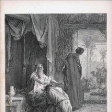 Arte: GRABADO DE AGUSMAND S. DE LA ILUSTRACIÓN DE G. DORE ISAAC BENDICE A JACOB MONTANER Y SIMÓN. 1884. Lote 51742577