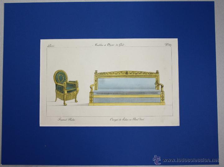 GRABADO CALCOGRAFICO COLOREADO Fauteuil Riche. Canapé de Salon en Bois doré  (butaca y sofá) AÑO 1802