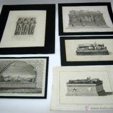 Arte: LOTE 5 BELLOS GRABADOS SIGLO XVIII ORIGINALES - ARTE FUNERARIO. Lote 52539188