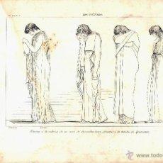 Arte: GRABADO DE FLAXMAN POR PI Y MARGAL 1859 DE LA SERIE LOS COÉFOROS ELECTRA A LA CABEZA DE UN CORO . Lote 52804838