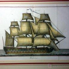 Arte: MARINE (PL. 141) DE P. SCATTAGLIA. NAVÍO DE VELA. GRABADO AL BURIL DEL S XVIII COLOREADO A MANO.. Lote 52873327