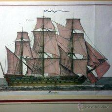 Arte: MARINE (PL. 142) DE P. SCATTAGLIA. NAVÍO DE VELA. GRABADO AL BURIL DEL S XVIII COLOREADO A MANO.. Lote 52873334