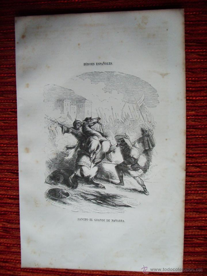 1855-SANCHO EL GRANDE DE NAVARRA. PUBLICACIÓN: LOS HÉROES Y MARAVILLAS DEL MUNDO. GRABADO ORIGINAL (Arte - Grabados - Modernos siglo XIX)