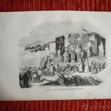 Arte: 1855-DON PELAYO. ASTURIAS BATALLA DE COVADONGA . HÉROES Y MARAVILLAS DEL MUNDO. GRABADO ORIGINAL. Lote 53142623