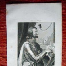 Arte: 1855-DON JUAN I.REY DE CASTILLA Y DE LEON. HÉROES Y MARAVILLAS DEL MUNDO. GRABADO ORIGINAL. Lote 53142860