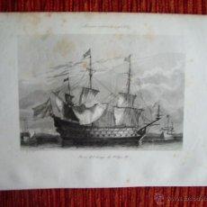 Arte: 1855-BARCO NAVIO DEL TIEMPO DE FELIPE IV.REY ESPAÑA.HÉROES Y MARAVILLAS DEL MUNDO. GRABADO ORIGINAL. Lote 53154225