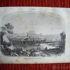 Arte: 1855-VISTA DE LA CIUDAD DE SEVILLA.HÉROES Y MARAVILLAS DEL MUNDO. GRABADO ORIGINAL. Lote 53154402