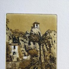 Arte: GRABADO DE LA LOCALIDAD ALICANTINA DE GUADALEST DE J.Mª DEL VALLE BOURGON. Lote 53264020