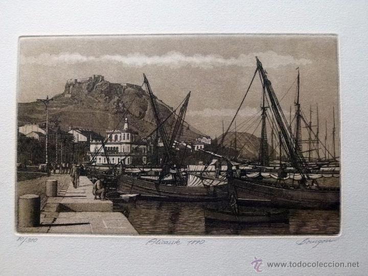 GRABADO DE ALICANTE 1890 OBRA DE J.Mª DEL VALLE BOURGON (Arte - Grabados - Contemporáneos siglo XX)