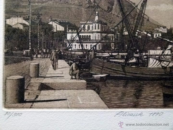 Arte: Grabado de Alicante 1890 obra de J.Mª del Valle Bourgon - Foto 2 - 125975812