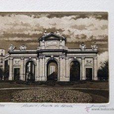 Arte: GRABADO DE MADRID PUERTA DE ALCALÁ OBRA DE J.Mª DEL VALLE BOURGON. Lote 53264652